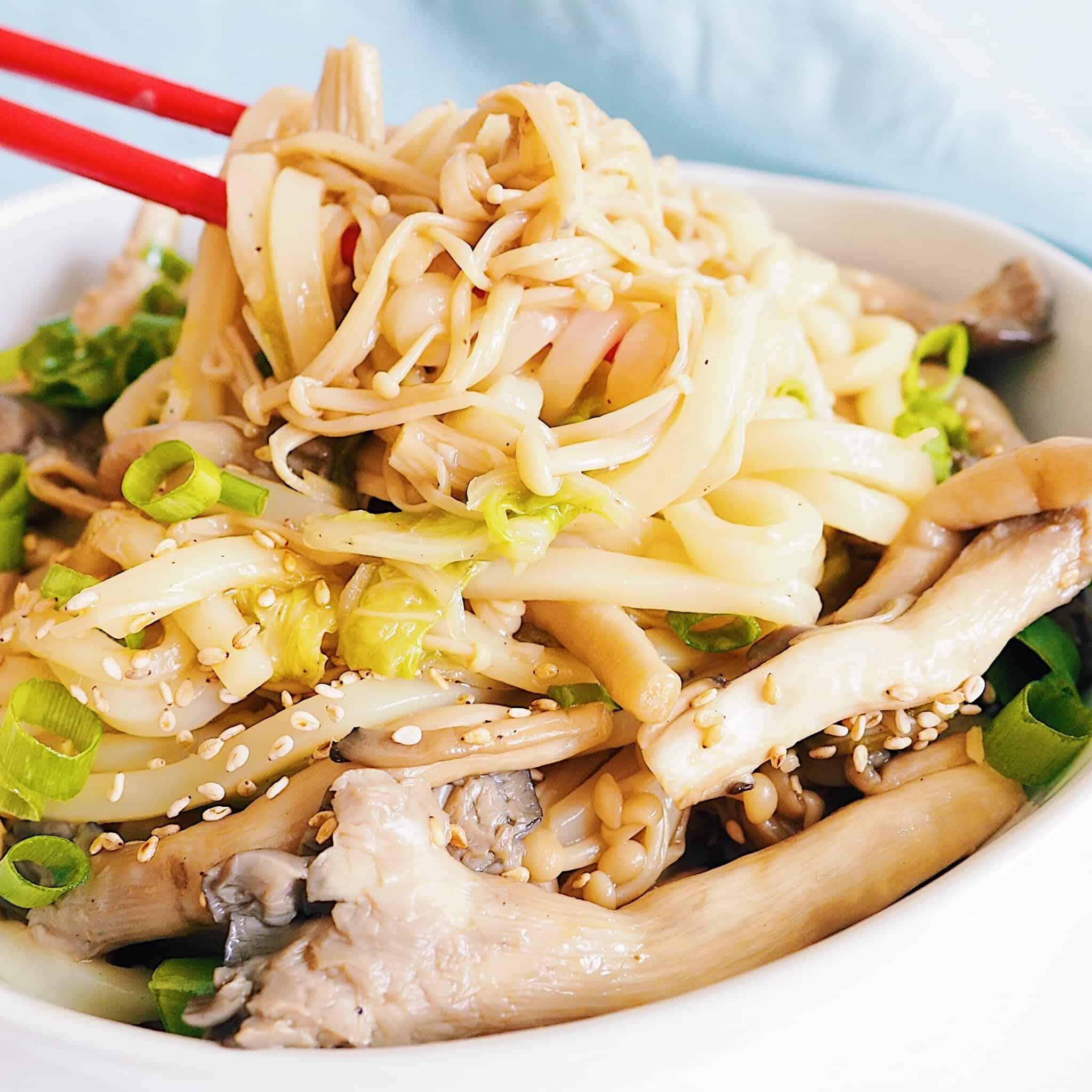 Mushroom Udon Stir Fry