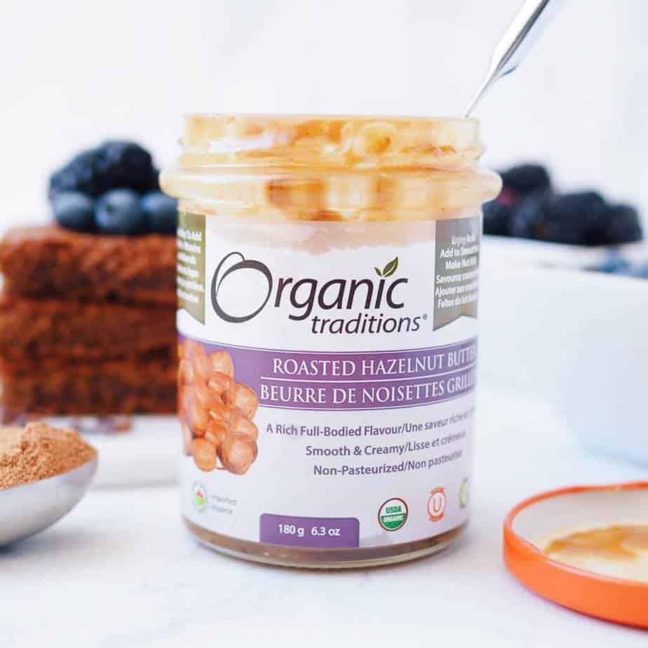 Organic Traditions Roasted Hazelnut Butter for Gluten-Free Chocolate Hazelnut Blondies