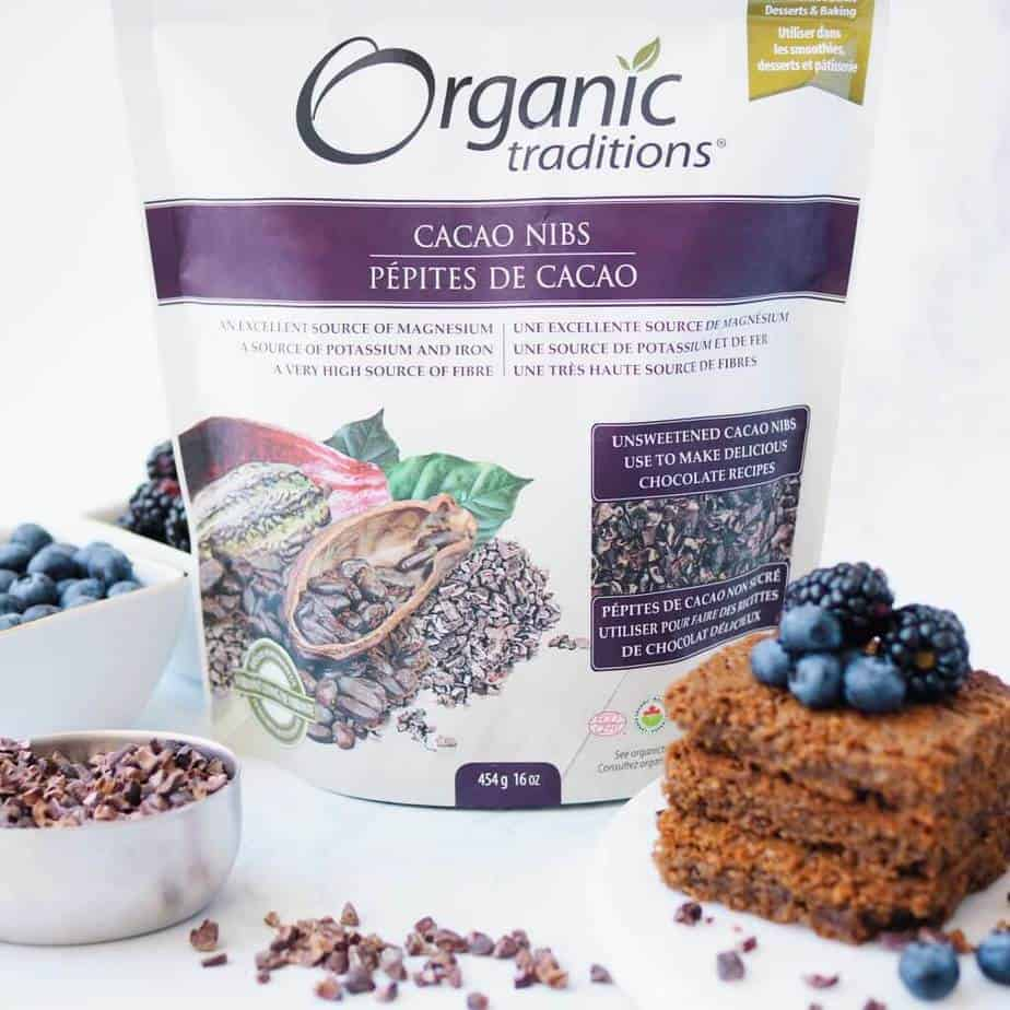 Organic Traditions Cacao Nibs for Gluten-Free Chocolate Hazelnut Blondies