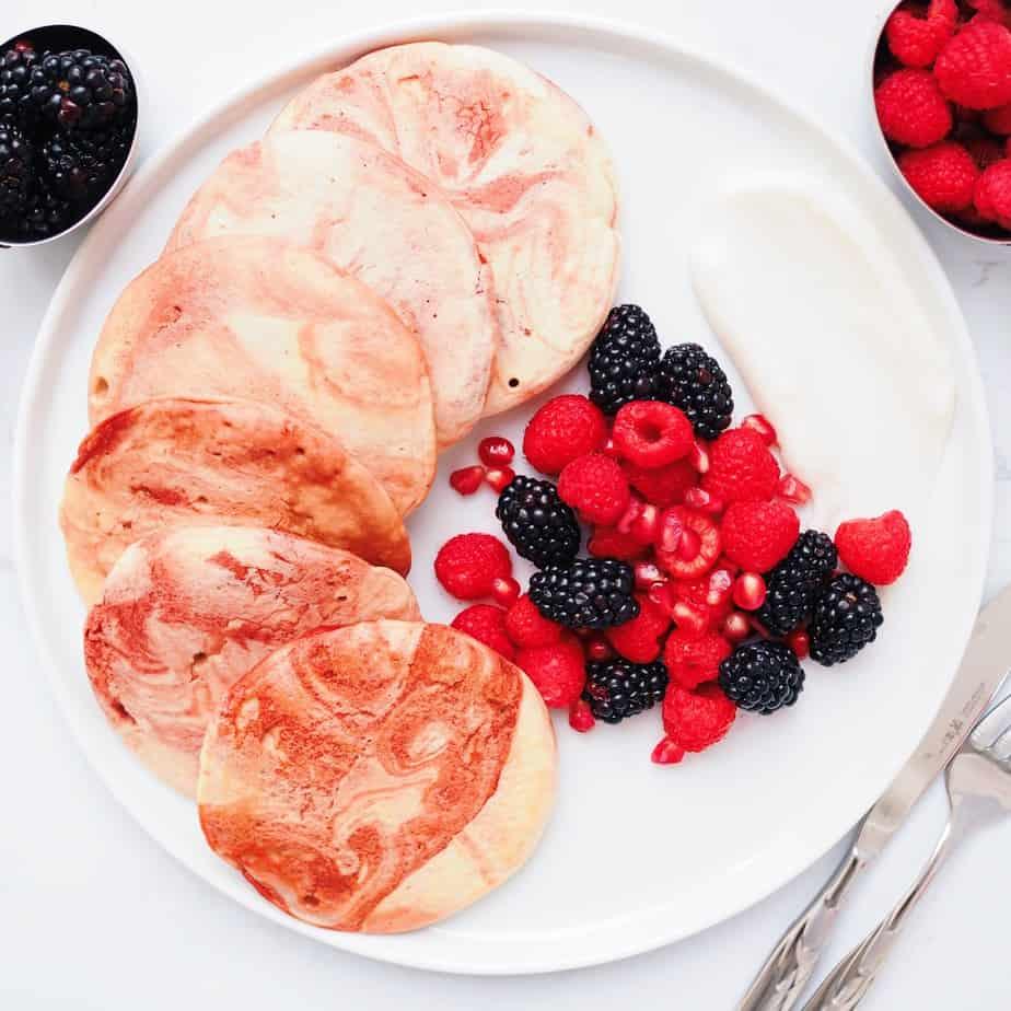 Red Velvet Marbled Pancakes