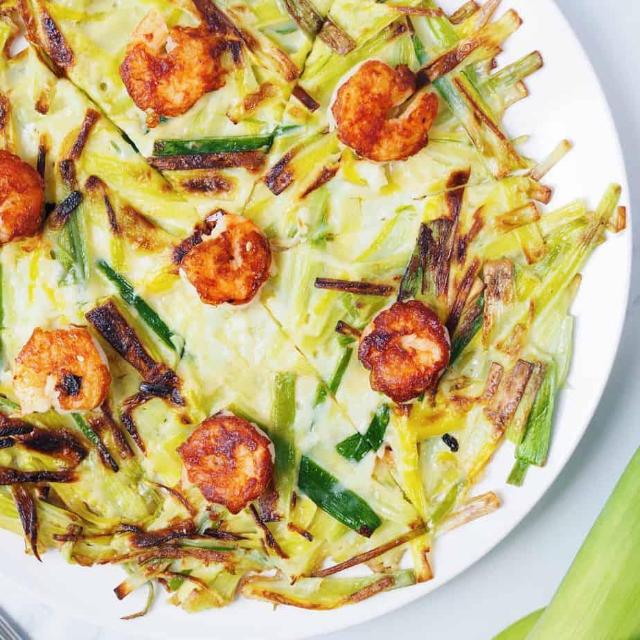 Korean Shrimp Leek Pancake