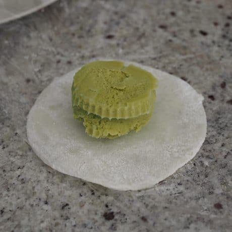 wrapping Japanese Mochi Ice Cream
