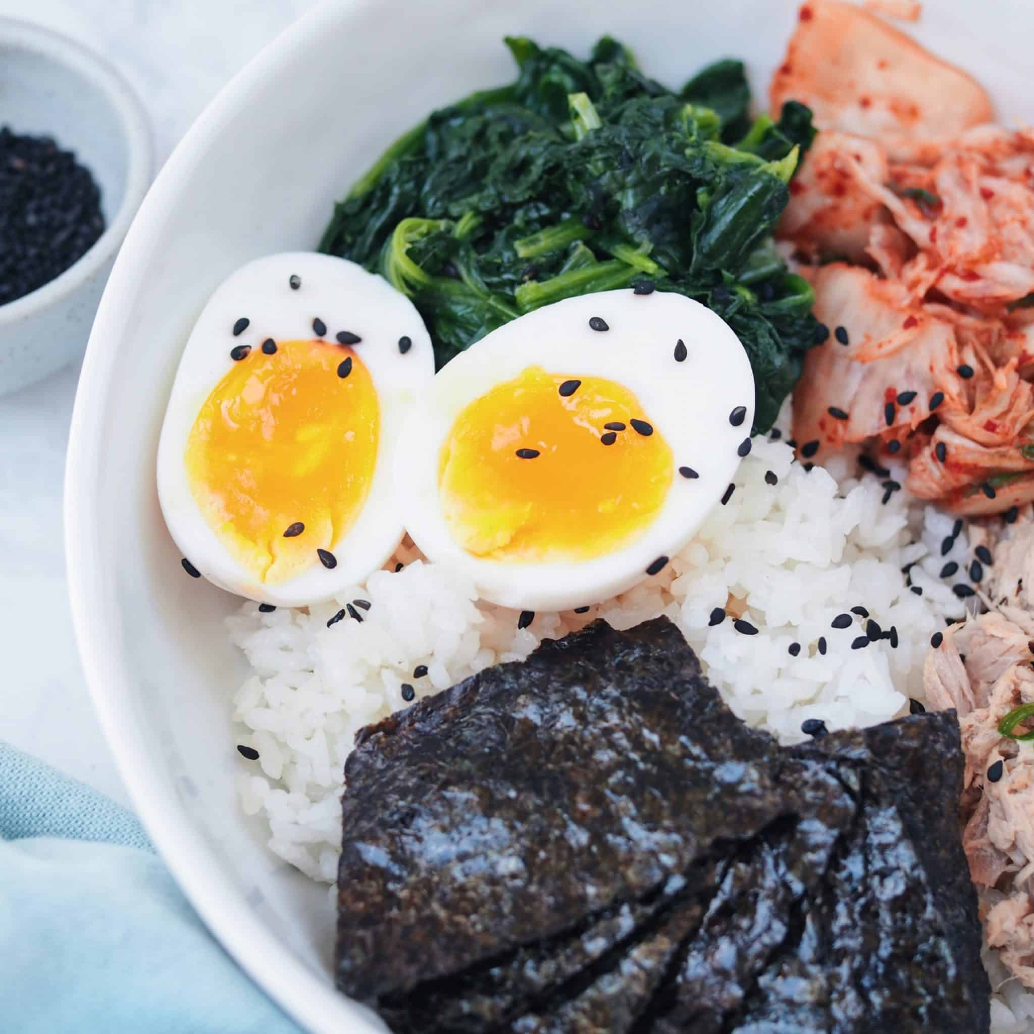 deconstructed tuna kimbap bowl