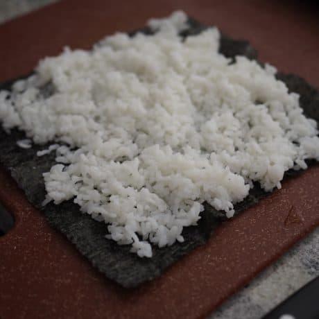 spread rice on nori