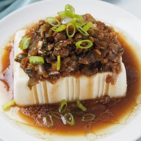 Silken Tofu with Onion and Garlic