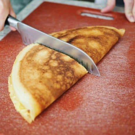 slice Apam Balik into half