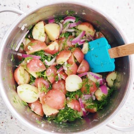 mix dressing into potatoes