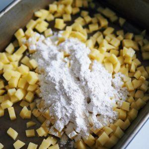 flour coated potatoes