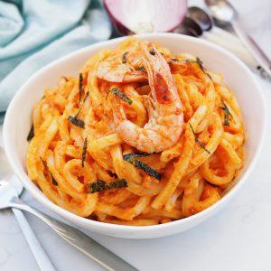 rose shrimp udon noodles