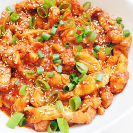 serve Korean Spicy Chicken with green onions