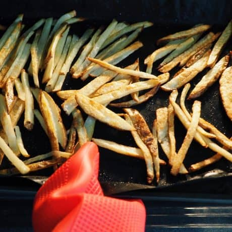 fries for Bake fries for 35-40 minutes, flipping them over at halfway point