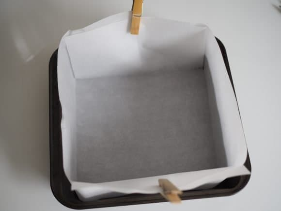 line baking pan with parchment paper for Chocolate Castella Cake