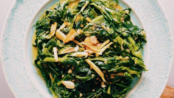 stir fry snow pea leaves recipe