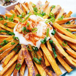 sweet potato kimchi fries