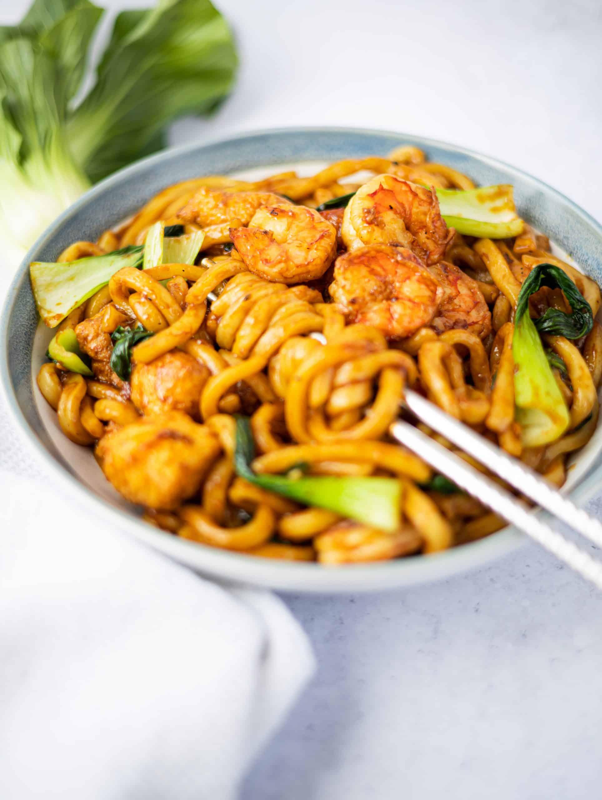 Garlic Shrimp Tofu Udon Noodles