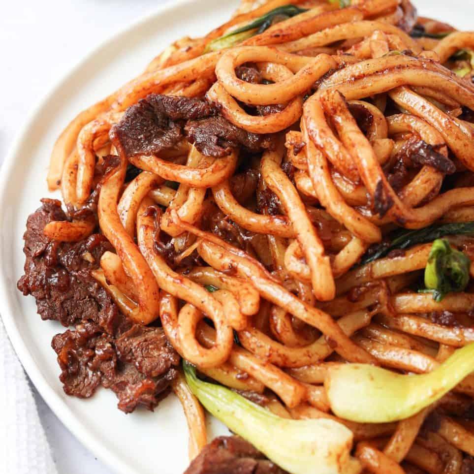 black pepper beef udon