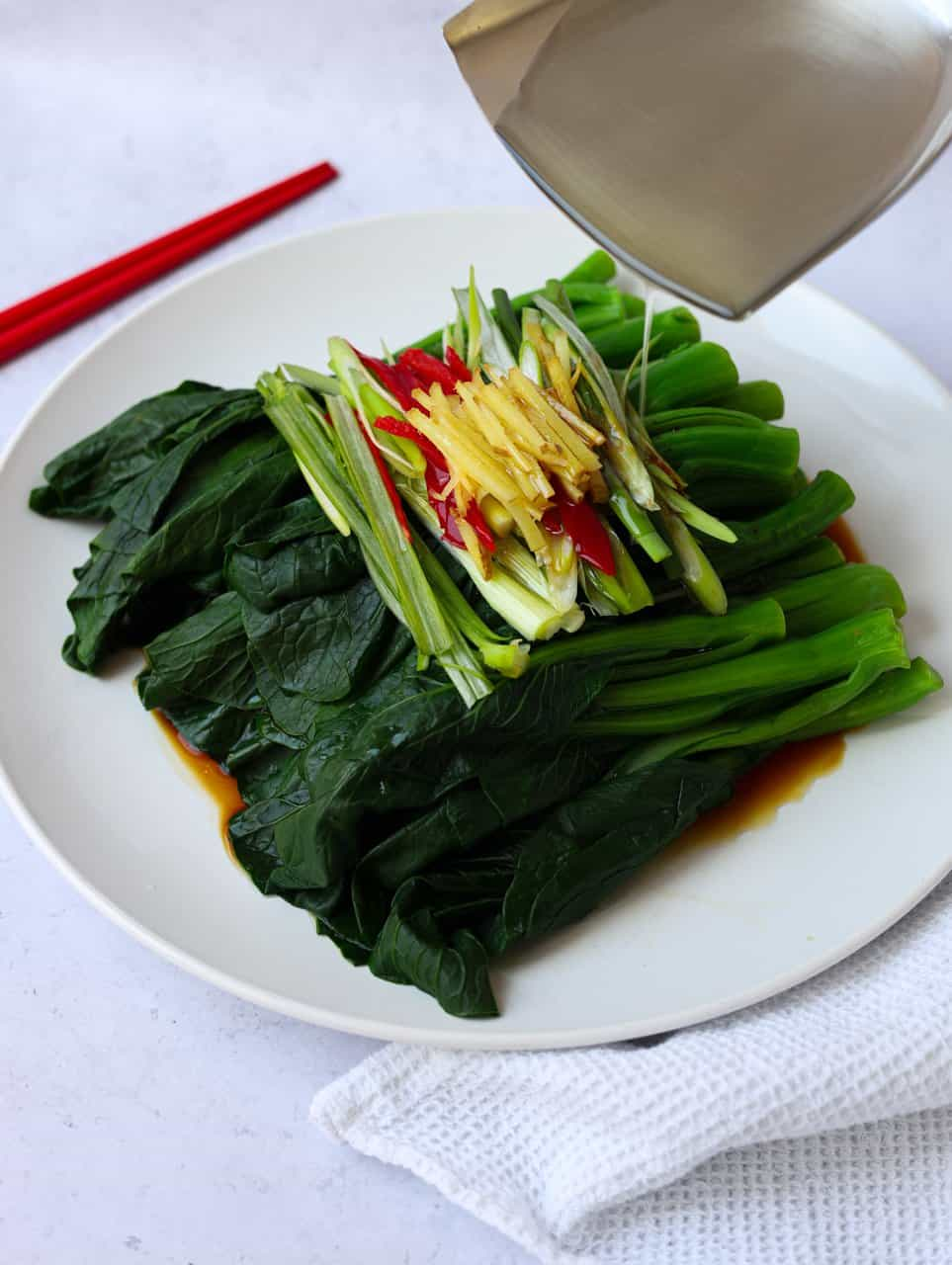 Choy Sum with Sizzling Oil