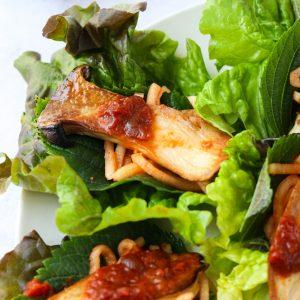 korean mushroom lettuce wraps