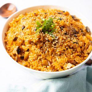 vegan mushroom kimchi fried rice