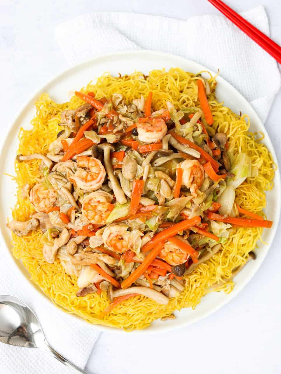 Chicken Shrimp Crispy Chow Mein